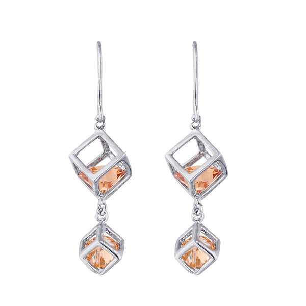 Kriaa Orange Austrian Stone Silver Plated Dangler Earrings