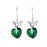 Kriaa Green Austrian Stone Silver Plated Dangler Earrings