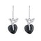 Kriaa Silver Plated Black Austrian Stone Dangler Earrings