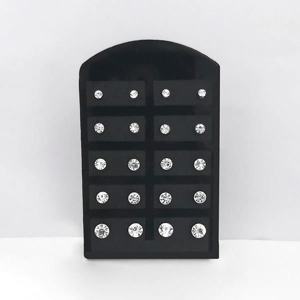 14Fashions Set of 12 Rhinestone Stud Earrings Combo - 1309209