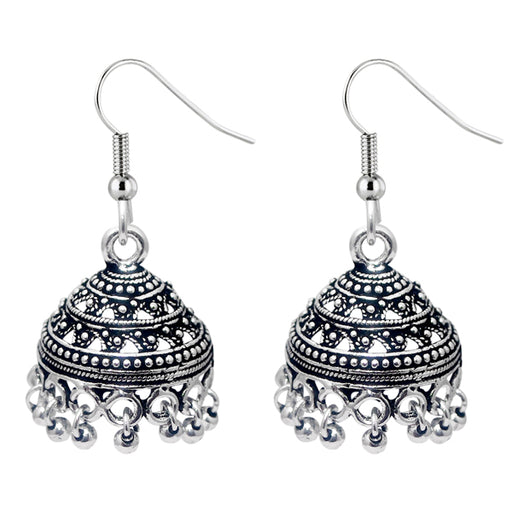 Jeweljunk Oxidised Jhumki Earrings