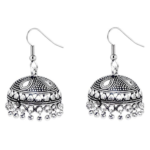 Jeweljunk Black Oxidised Silver Beads Jhumki Earrings