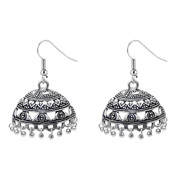 Jeweljunk Black Oxidised Designer Jhumki Earrings