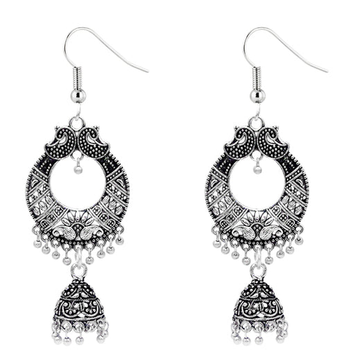 Jeweljunk Long  Oxidised Designer Jhumki Earrings - Jewelmaze.com