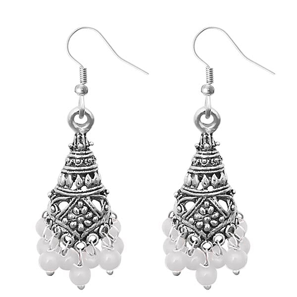 Jeweljunk White Beads Silver Plated Jhumki Earrings