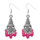 Jeweljunk Silver Plated Pink Beads Jhumki Earrings
