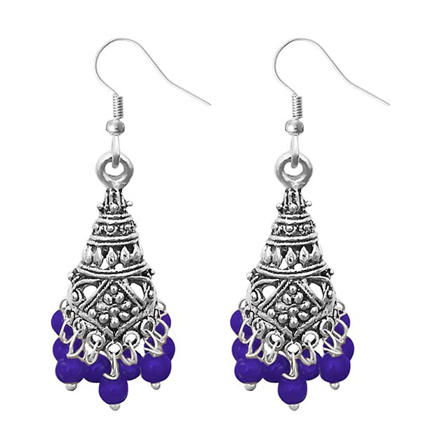 Jeweljunk Purple Beads Silver Plated Jhumki Earrings
