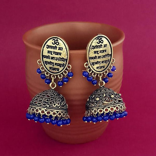 Jeweljunk Blue Beads Gold Plated Jhumki Earrings - 1309383D