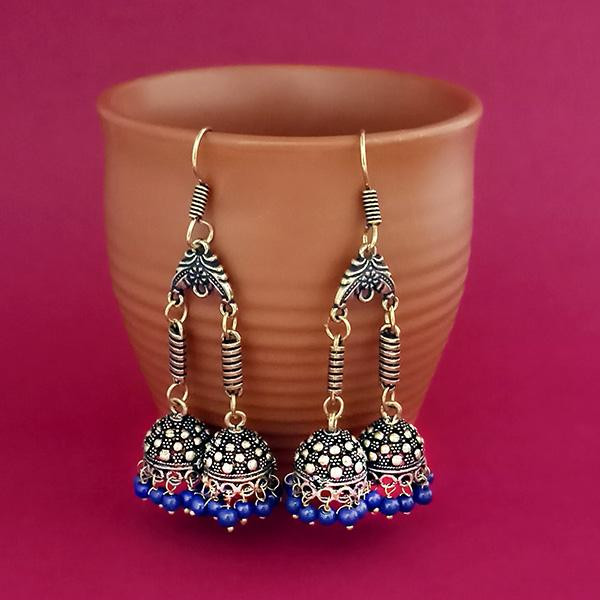 Jeweljunk Blue Beads Gold Plated Jhumki Earrings