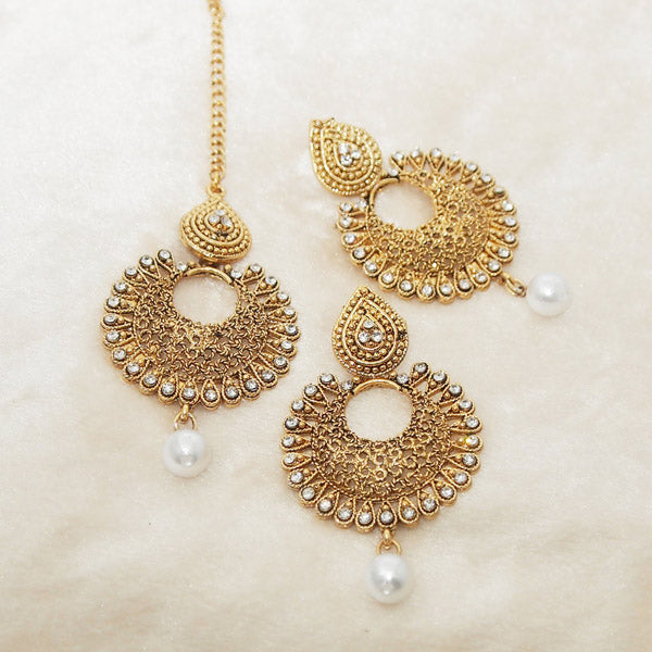 Shreeji White Stone Dangler Earrings With Maang Tikka