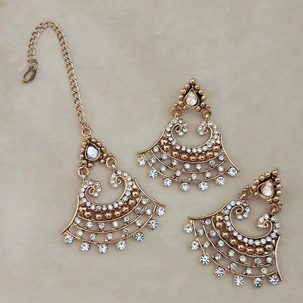 Shreeji Austrian Stone Gold Plated Earrings With Maang Tikka