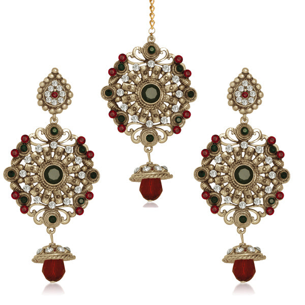 Kriaa Antique Gold Stone Dangler Earrings With Maang Tikka