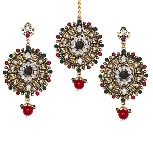 Kriaa Stone Antique Gold Dangler Earrings With Maang Tikka