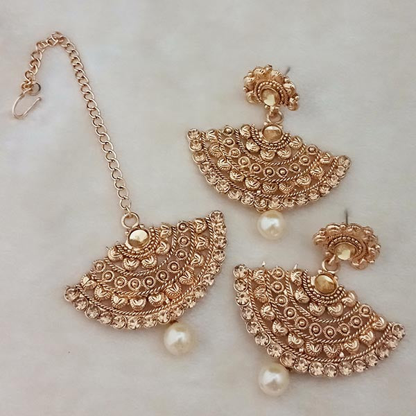 Kriaa Brown Stone Gold Plated Earrings With Maang Tikka