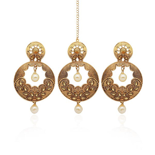 Kriaa Austrian Stone Gold Plated Earrings With Maang Tikka
