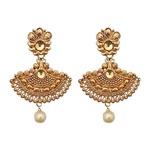 Kriaa Gold Plated Brown Austrian Stone Chandbali Earrings