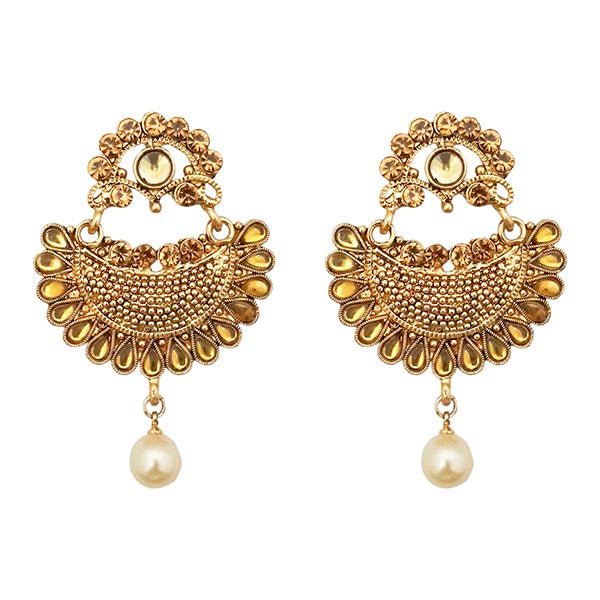 Kriaa Brown Austrian Stone Pearl Chandbali Earrings
