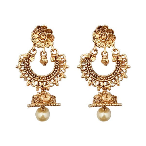 Kriaa Gold Plated Brown stone Jhumki Dangler Earrings