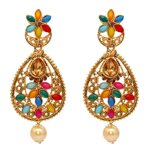 Kriaa Stone Kundan Gold Plated Navrang Dangler Earrings