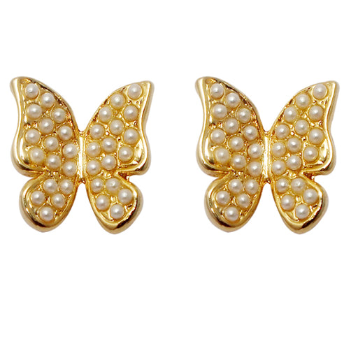Urbana Pearl Gold Plated Butterfly shaped Stud Earrings