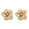 Urbana White Pearl Gold Plated Floral Design Stud Earrings