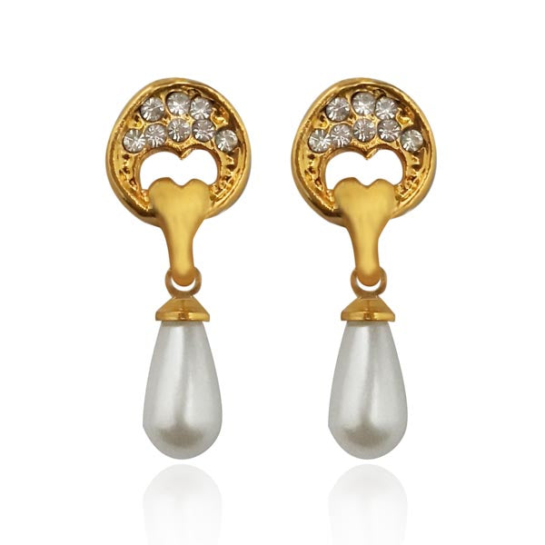 Kriaa White Austrian Stone Pearl Drop Stud Earrings