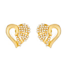 Kriaa Gold Plated Heart Design Pearl Stud Earrings