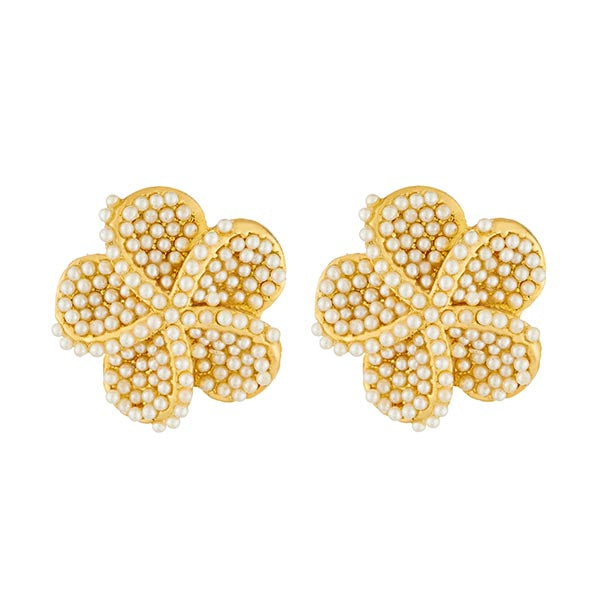 Kriaa Gold Plated White Pearl Stone Stud Earrings