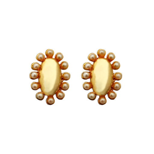 Kriaa Pearl Stud Gold Plated Earrings