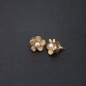 Kriaa Gold Plated Pearl Stud Earrings
