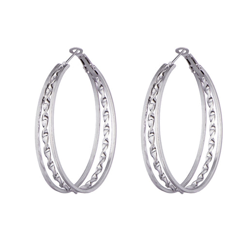 Kriaa Zinc Alloy Silver Plated Hoop Earrings