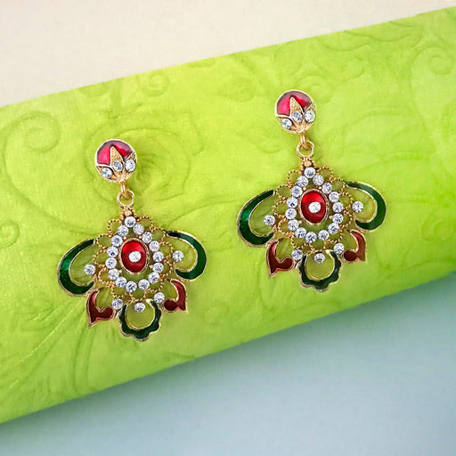 Kriaa Meenakari Austrian Stone Gold Plated Dangler Earrings