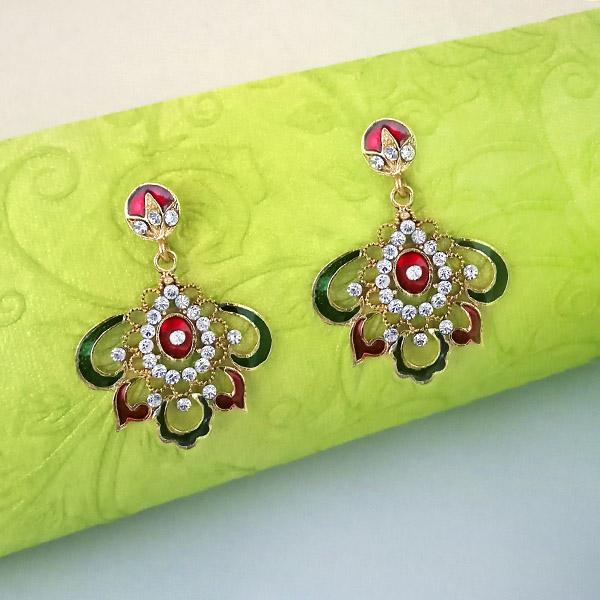 Kriaa Meenakari Austrian Stone Gold Plated Dangler Earrings  - EB