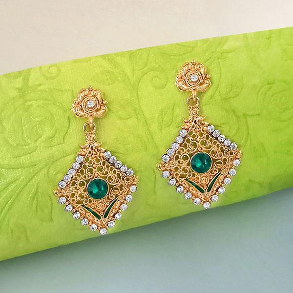 Kriaa Green Austrian Stone Gold Plated Dangler Earrings  - EB