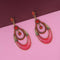 Kriaa Gold Plated Red Austrian Stone Dangler Meenakari Earrings