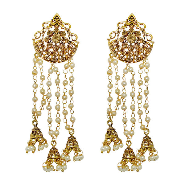 Kriaa Pearl Gold Plated Roll Chain Earrings