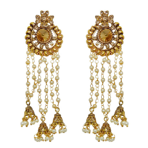 Kriaa Stone Gold Plated Pearl Dangler Earrings