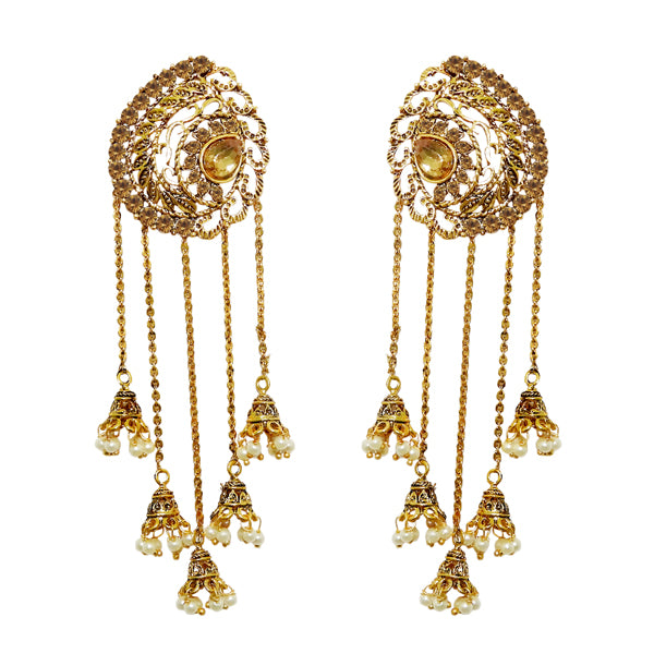 Kriaa Pearl Gold Plated Drop Roll chain Earrings