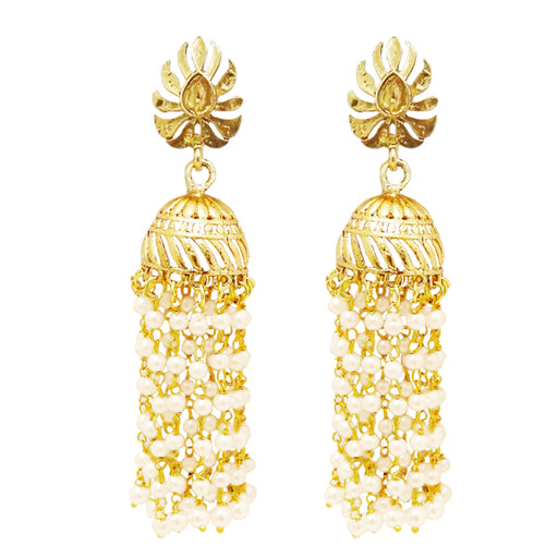 Kriaa Stone Pearl Gold Plated Polki Jhumki Earrings