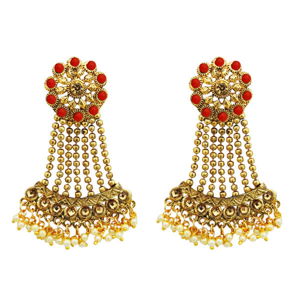 Kriaa Red Kundan Stone Gold Plated Dangler Earrings