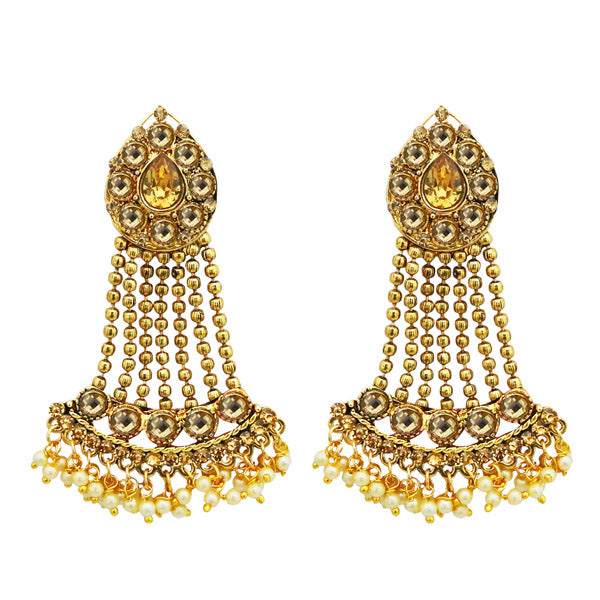 Kriaa Brown Austrian Stone Gold Plated Dangler Earrings