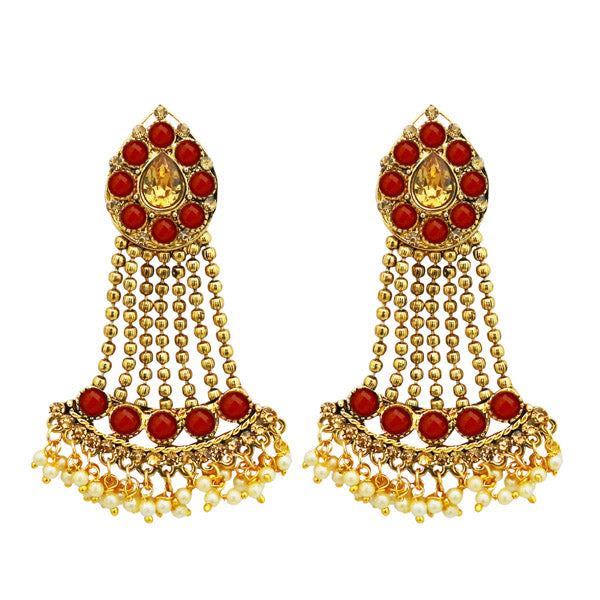 Kriaa Gold Plated Maroon Kundan Stone Dangler Earrings