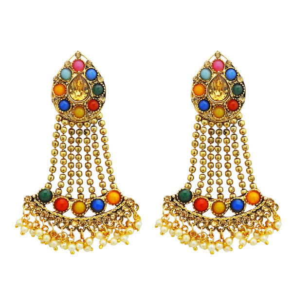 Kriaa Multi Kundan Stone Gold Plated Dangler Earrings