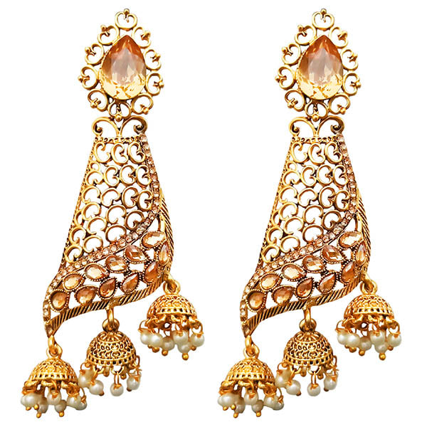 Kriaa Brown Austrain Stone Gold Plated Dangler Earrings