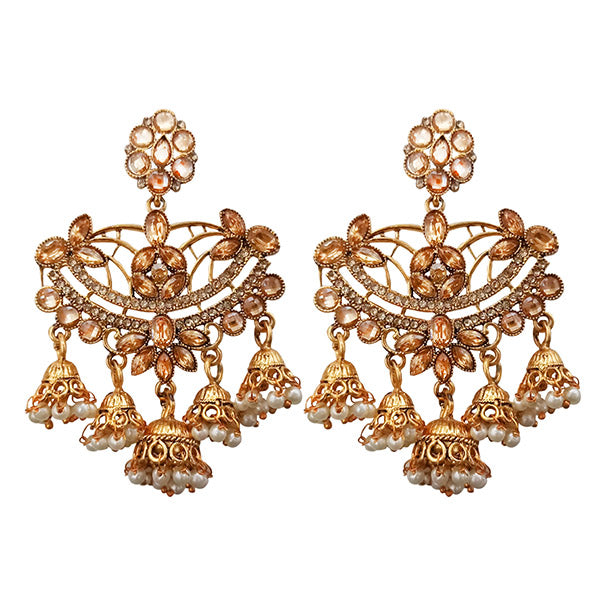 Kriaa Gold Plated Brown Stone Dangler Earrings