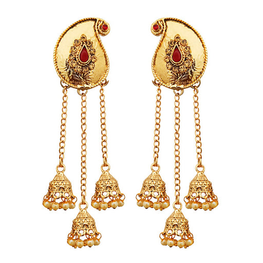Kriaa Maroon Pota Stone Gold Plated Dangler Earrings