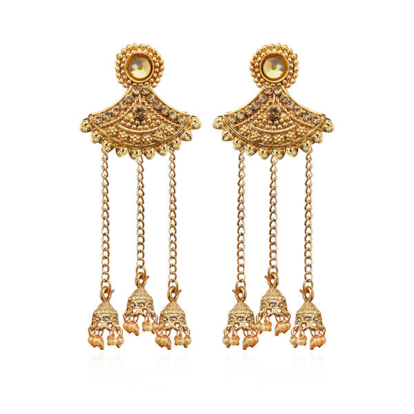 Kriaa Gold Plated Brown Austrian Stone Dangler Earrings