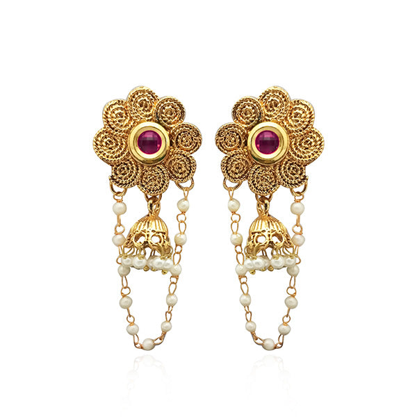 Kriaa Gold Plated Purple Austrian Stone Dangler Earrings