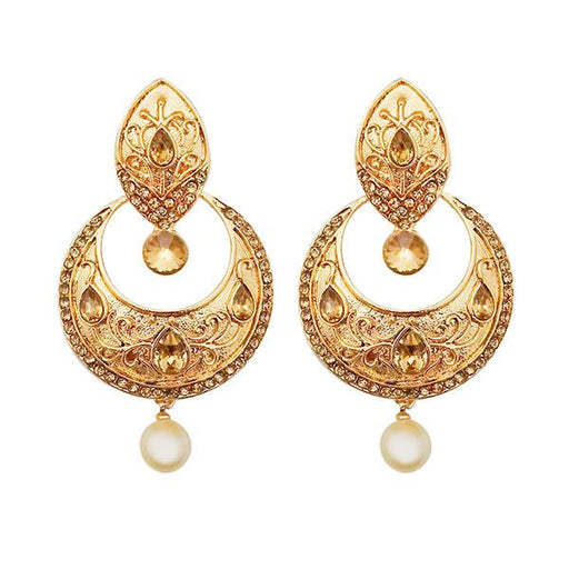 Kriaa Gold Plated Austrian Stone Brown Kundan Dangler Earrings
