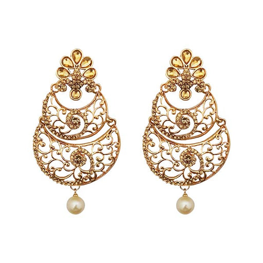 Kriaa Gold Plated Stone Dangler Earrings